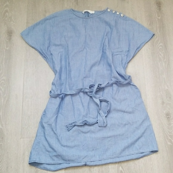 Zara Dresses & Skirts - Zara blue basic denim dress size xs